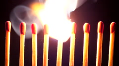Burning matches - stock footage