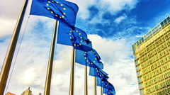 European Union flags in front of European Commission. Brussels, Belgium - stock footage