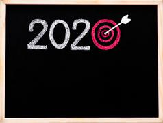 Conceptual image of Year 2020, with number zero in shape of a target - stock photo