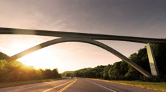 Traveling Beneath the Impressive Natchez Trace Parkway Bridge in Tennessee Stock Footage