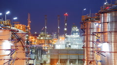 Night scene of refinery industrial plant , Time lapse Stock Footage