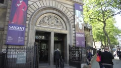 The entrance to the National  Portrait Gallery in London Stock Footage