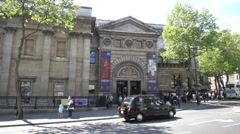 Establishing shot of the National Portrait Gallery in London Stock Footage