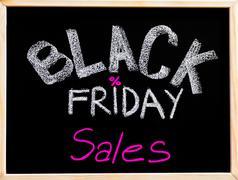 Black Friday sales advertisement handwritten with chalk on blackboard Kuvituskuvat