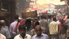 Busy alley in one of the central bazaars in Kolkata, India Stock Footage