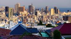 Kobe, Japan skyline at the Sannomiya downtown district. Stock Footage