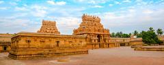 view of the entrance tower at Hindu Brihadishvara Temple, India, Tamil Nadu,  - stock photo
