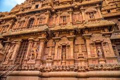 Fragment of bas-relief tower Hindu Brihadishvara Temple, India, Tamil Nadu, T Stock Photos