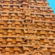 Great architecture of Hindu Temple element entrance gate,  bas-relief Temple  Stock Photos
