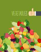 Bunch vegetables. Turnips and squash. Hand with the thumb up a favorable gest Stock Illustration
