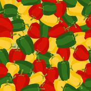 Coloured sweet pepper pattern. Seamless background with ripe peppers. Vector  - stock illustration