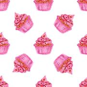 Watercolor tasty cupcake in vintage style Stock Illustration