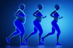 Running woman with obesity - stock illustration