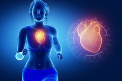 Running woman focused on heart - stock illustration
