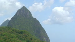 Piton Mountains in Saint Lucia in the Caribbean Stock Footage