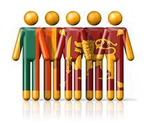 Flag of Sri Lanka on stick figure Stock Illustration