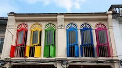 colorful windows Chino-Protugese Architecture - stock photo