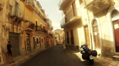 Point of view from car around Sicilian country side and towns 05 Stock Footage
