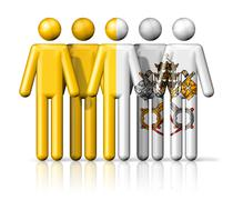 Flag of Vatican City on stick figure - stock illustration