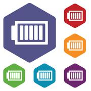 Charged battery hexagon icon set - stock illustration