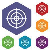Aim hexagon icon set - stock illustration
