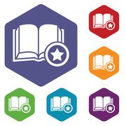 Favorite book hexagon icon set Stock Illustration