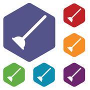 Plunger hexagon icon set Stock Illustration