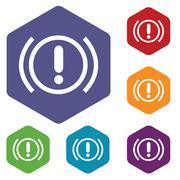 Stock Illustration of Alert hexagon icon set