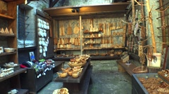 Shop of souvenirs made of wood. 4K. - stock footage