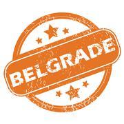 Belgrade round stamp - stock illustration