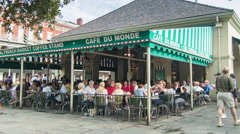 Famous Cafe du Monde New Orleans Exterior Wide Stock Footage