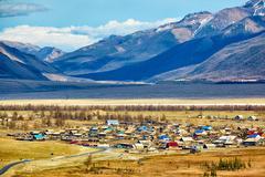 Altai village Kurai Stock Photos