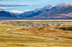Altai village Kurai - stock photo