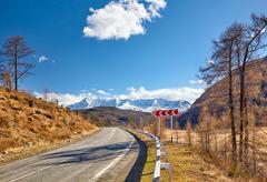 Altai mountain federal road M52 Stock Photos