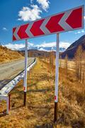 Road sign on Altai mountain federal route M52 Stock Photos