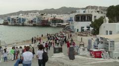 Mykonos Greece Little Venice Time Lapse Stock Footage