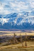 Altai mountains in Kurai area with North Chuisky Ridge on background - stock photo