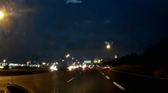POV dashcam driving on the 401 highway in ontario at night Stock Footage