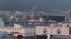Kobe Japan city industrial panning shot Stock Footage