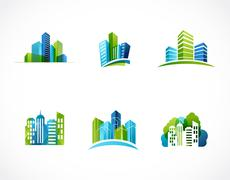 Real estate, city, skyline icons and logos Stock Illustration