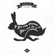 Stock Illustration of inspiration quote hipster vintage design label - rabbit
