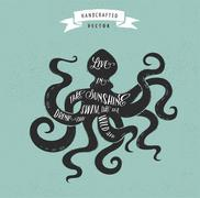 Inspiration quote hipster vintage design label - octopus Stock Illustration