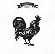Stock Illustration of inspiration quote hipster vintage design label - rooster
