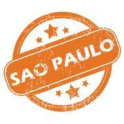Sao Paulo round stamp Stock Illustration