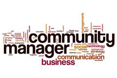 Community manager word cloud concept Stock Illustration