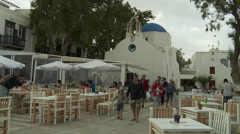 Mykonos Greece Little Venice Waterfront Orthodox Church and Taverna TIme Lapse Stock Footage