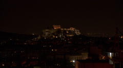 Acropolis of Athens at Night Stock Footage
