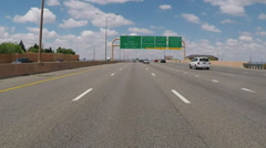 Viewpoint Driving Past Interstate 40 Freeway Signs- Albuquerque, NM Stock Footage