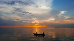 Fishermen at Sunrise - stock footage