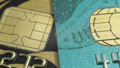 Stock Video Footage of Credit cards. Close up slow panorama. Macro shot.